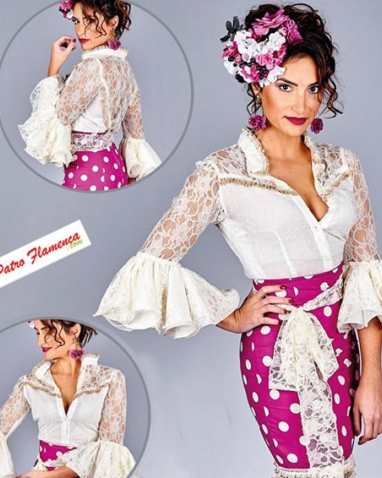 Camisa Caracruz Encaje Flamenca