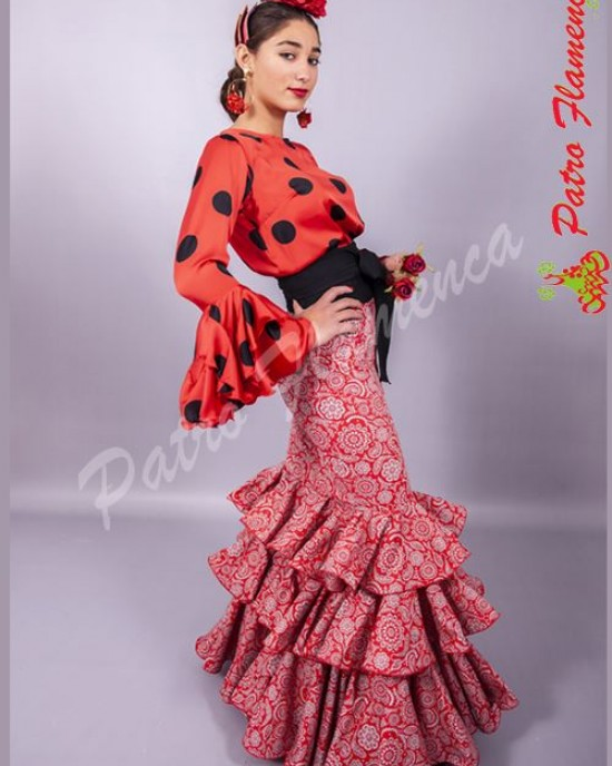 Falda Elenco Estampada Flamenca