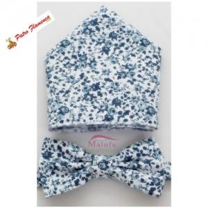 Pajarita-Pañuelo Estampado Flores Azules