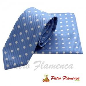 Corbata-Pañuelo Celeste lunar blanco