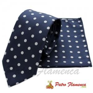 Corbata-Pañuelo Marino lunares blancos