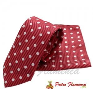 Corbata-Pañuelo Roja lunar blanco