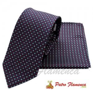 Corbata-Pañuelo Marino moteado gris plata y rojo