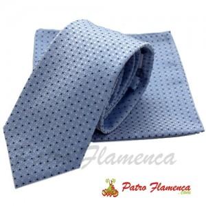 Corbata-Pañuelo celeste moteado marino