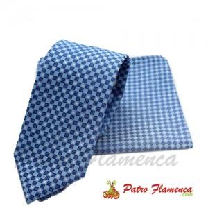 Corbata-Pañuelo Celeste de cuadros