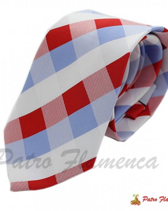 Corbata  Cuadros rojos,blancos y celestes