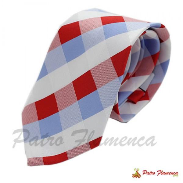 Corbata 260-11 Cuadros rojos,blancos y celestes