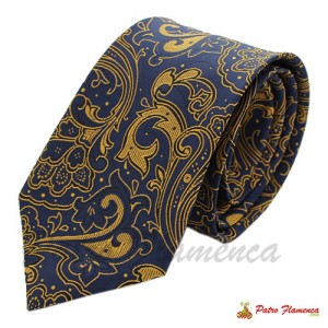 Corbata Seda Marino Cachemir dorado