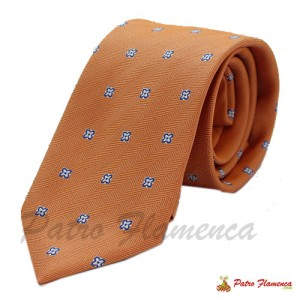 Corbata Naranja con flores blancas