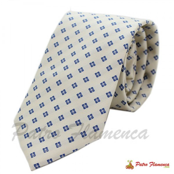 Corbata 341-17 Blanco roto flores azulonas