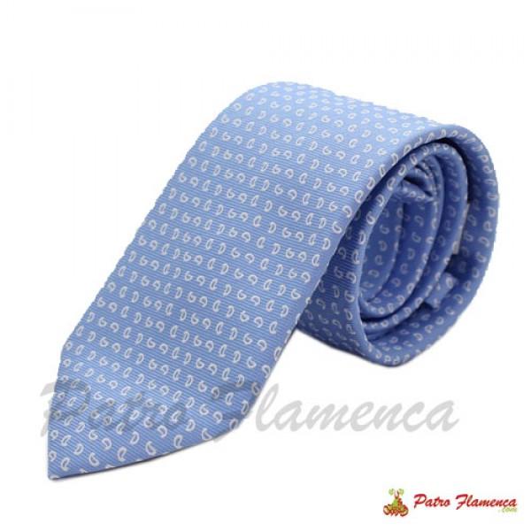 Corbata 352-11 Celeste estampado blanco