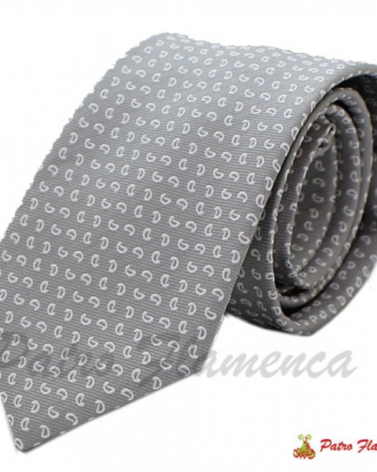 Corbata Gris estampado blanco