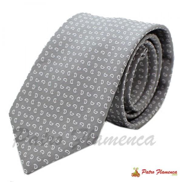 Corbata 352-16 Gris estampado blanco