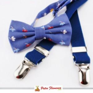 Pajarita Infantil azul rayas y flores con Tirantes marino