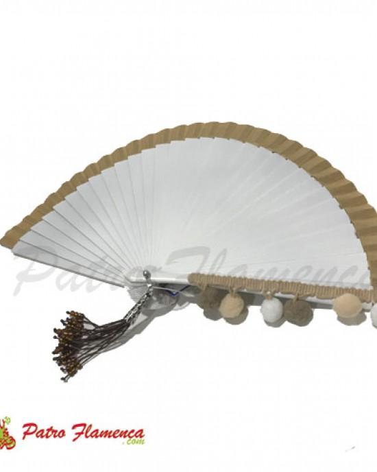 Abanico Pompones Blanco