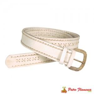 Cinturón Piel Blaca Bordada
